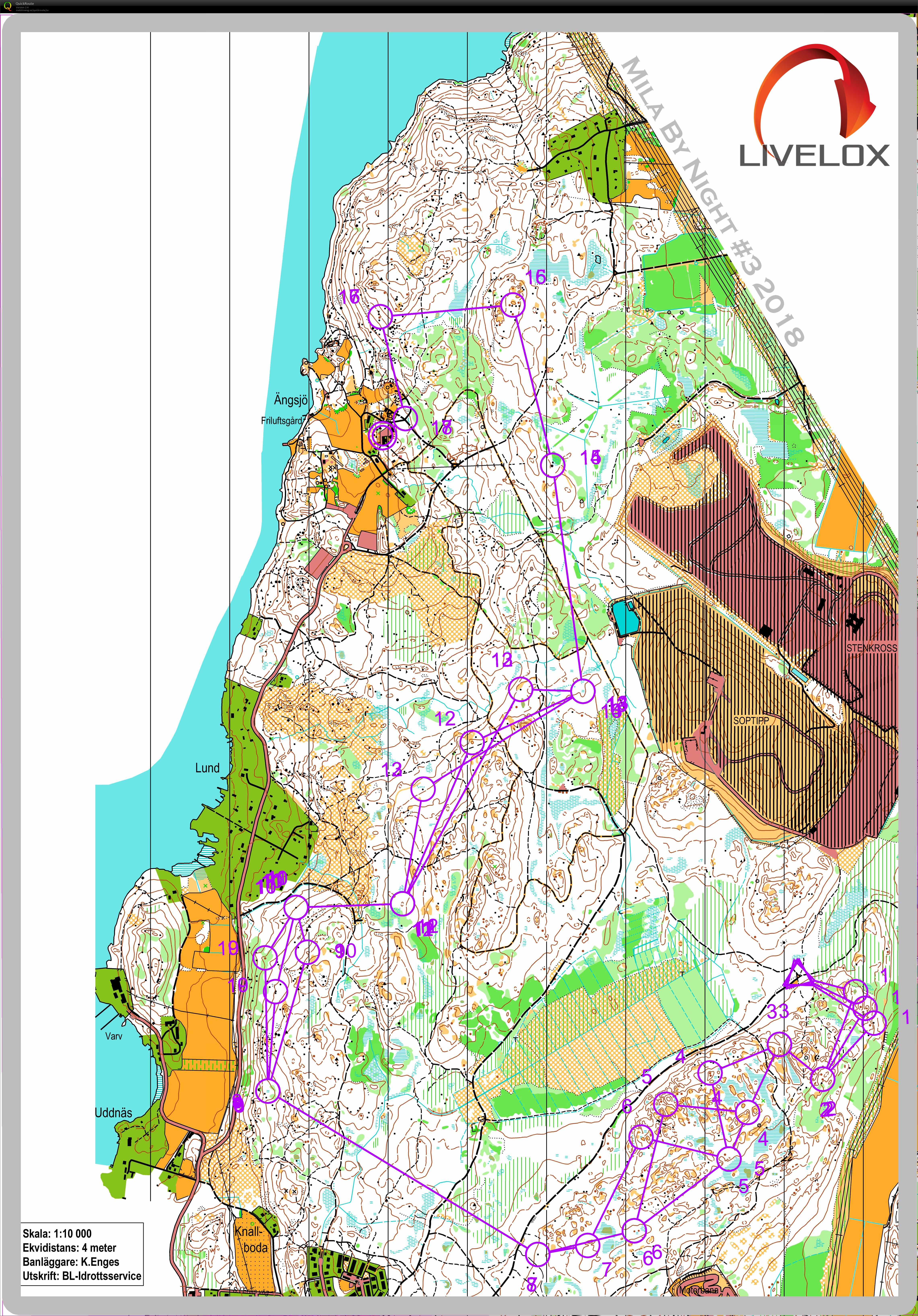 Mila Stockholm by night 3 January 10th 2018 Orienteering Map
